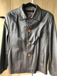 Título do anúncio: Casaco de couro legítimo marrom tamanho P