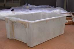 Bacia / Cesto / Caixa c/ Alças em Plástico Branco 24 cm x  70 cm x  43 cm