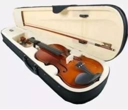 Kit C/3 Violinos 4/4 Arco Breu Case Espaleira Estante C/case
