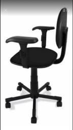 Cadeira secretaria giratória com braços e rodinhas usada