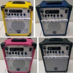Caixa de Som Multiuso TB100 Bluetooth USB Sd Rádio Am/Fm 2 Entradas P10 Instrumentos