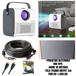 Projetor Blitzwolf Bw-vp5 + Tela Dryfit + Cabo Hdmi 10metros