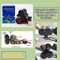 Carregador de celular e GPS com acendedor de cigarro para Moto e Bike Elétrica