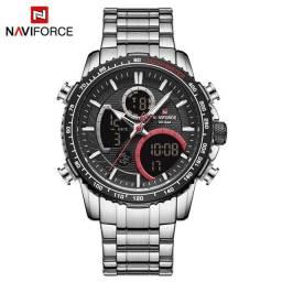 Relógio de pulso original naviforce digital e analógico resistente a água