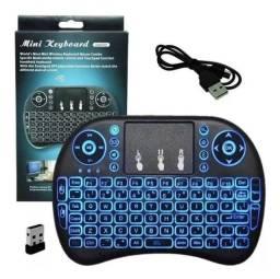 Mini Teclado Wifi Keyboard Controle Com Touchpad Backlit Led Recarregavel Bateria