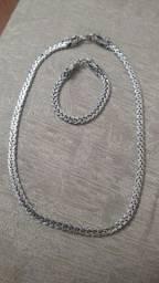 Corrente e pulseira Bali prata 925 fecho Dragão