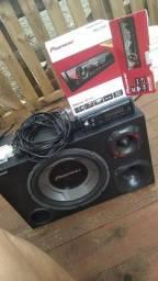 Título do anúncio: Caixa de Som completa com Radio pioneer.