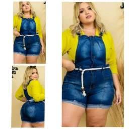 Título do anúncio: Macaquinho Jeans Femininos Plus Size C Laycra  tam 46 ao 52