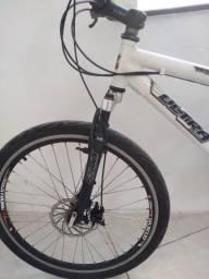 Bicicleta Caloi sk freio a disco jante aérea raio inox dupla suspensão toda de alumínio