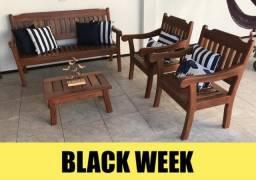 Conjunto cadeiras sofá e mesa de centro madeira maciça