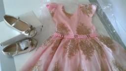 Vestido realeza Rosa e dourado
