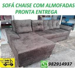 Peça Ja e Receba No Mesmo Dia!!Sofa Chaise Com Almofadas Novo Apenas 799,00