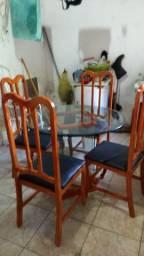 Mesa de vidro 20 mm com 1.05 de diâmetro redonda completa com 4 cadeiras e base