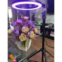 Título do anúncio: Iluminador Ring Light 20cm 8 polegadas RGB Colorida LED Suporte Celular Tripé 1.6 mts
