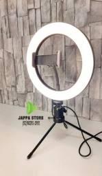 Ring Light Led Completo Iluminador Portátil 20cm Tripé 360º