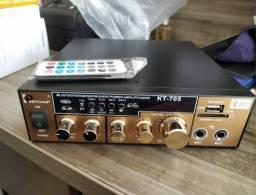 Amplificador Módulo Receiver Bluetooth 2 Canais Karaôke Usb LE-705