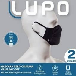 Mascara lupo preta zero costura virus bac-off kit 2 unidades