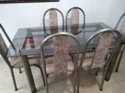 Mesa Vidro c/ 6 cadeiras-1,50 x 0,80