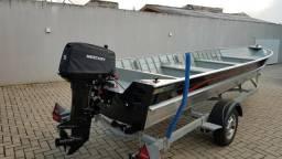 Barco Pety 6 metros novo, como motor 30 hp, partida elétrica - 2018