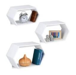 Nichos Decorativo/ hexagonal alongado/ kit com 3