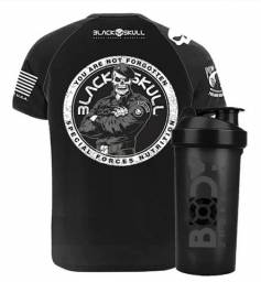 Camiseta Dry Fit black skull mais shake de brinde 50,00