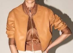 Jaqueta em couro legítimo pele macia original