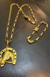 Título do anúncio: Corrente Cartier e pulseira Cartier moeda antiga