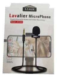 Microfone de lapela com entrada P2, grave o audio
