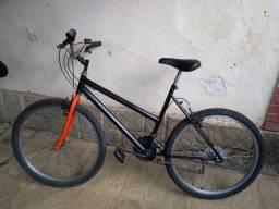 Bicicleta Samy preto-fosco quadro feminino 18v aro 26 reformada