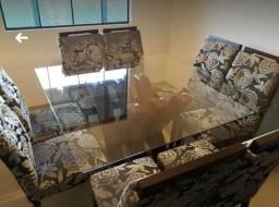 Título do anúncio: Mesa jantar, de vidro com 8 cadeiras.