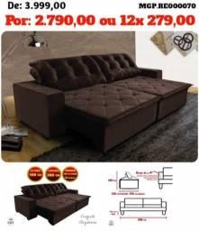 Sofa Retratil e Reclinavel 2,80 - Sofa Grande - Sofa Bordado- Saldão em Campo Grande