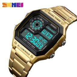 Título do anúncio: Relógio Masculino Skmei 1335 Original - Pulseira em aço retro
