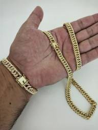 Corrente e pulseira de moeda antiga 10mm conjunto completo