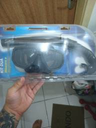 Máscara de mergulho e snorkel