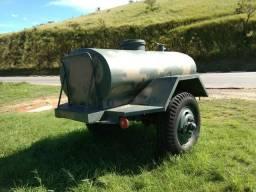 Reboque carretinha cisterna de Água militar tanque 1500 litros alumínio