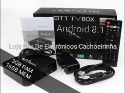 TV BOX TOP Configurada Android 8.1/3GB.RAM/16GB.MEM, Loja especializada em Cachoeirinha!