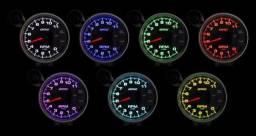 Manômetro Pressão de Óleo Odg Full Color 7 Leds Com Kit de Instalação e Copo 52 mm