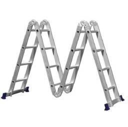 Escada de alumínio multifuncional com plataforma