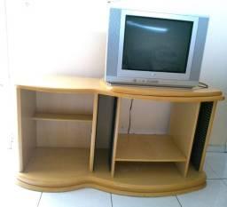 Rack de madeira + TV LG 20 Polegadas