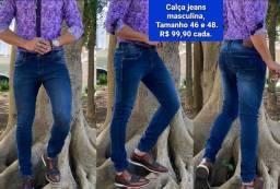 Calça jeans masculina. R$ 99,90 cada. Tamanho na descrição.