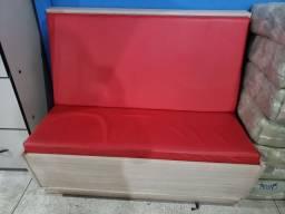 Conjunto de banco MDF com mesa com base em em inox.