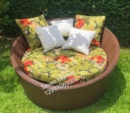 Sofá redondo chaise área externa alto padrão móveis