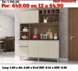 Armario de Cozinha - Kit de Cozinha Medio 1,60 - Promoção em Campo Grande