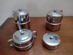 Título do anúncio: Jogo de chá em inox Brinox, 4 peças