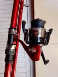 Título do anúncio: Vara 3.60 + moli c/ linha + chicote pesca mar
