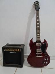 Título do anúncio: Guitarra Epiphone SG com cubo suzuki