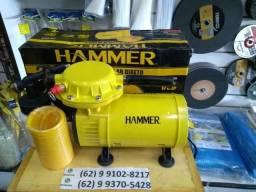 Compressor de Ar Direto Com Pistola de Pintura e Mangueira Hammer