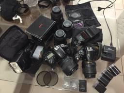 Nikon kit completo com 2 máquinas + flashes + lentes + acessórios