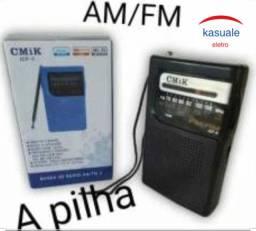 Rádio original CMIK de bolso retrô grátis pilhas. Novo