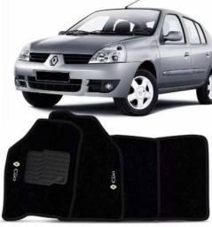 Tapete Carpete Clio 1997 a 2000 a 2008 2009 2010 2011 2012 Preto Bordado Personalizado